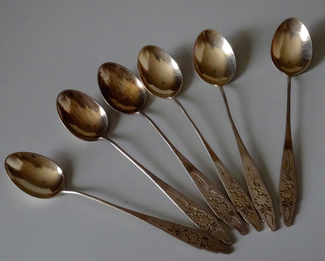 Vintage Chinese Silver Tea Spoon Lot of 6 Engraved