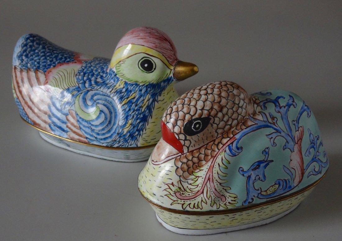 Hand Painted Canton Enamel Chinese Mandarin Duck