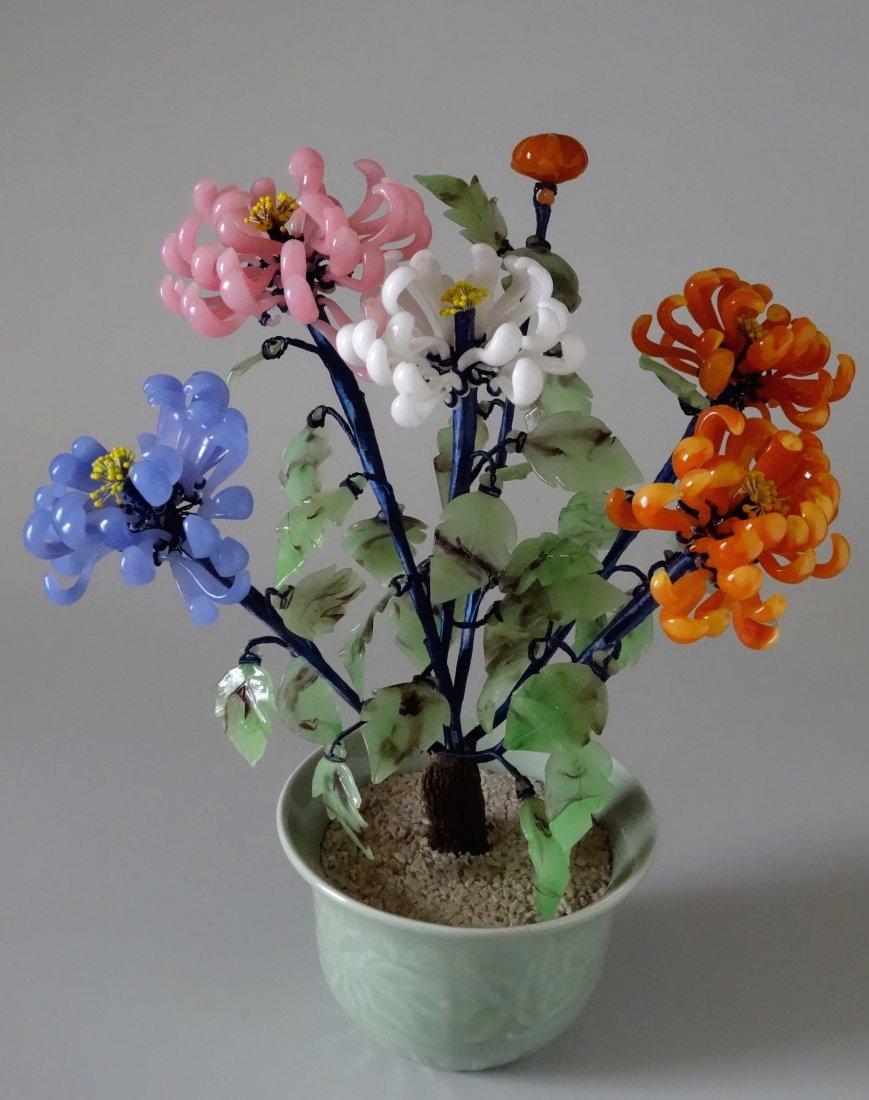 Chinese Glass Chrysanthemum Jewel Bonsai Flower Tree