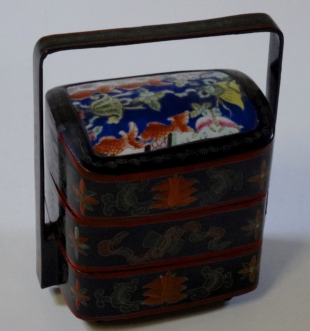 Chinese 3-Tier Box with Hand Painted Porcelain Inset
