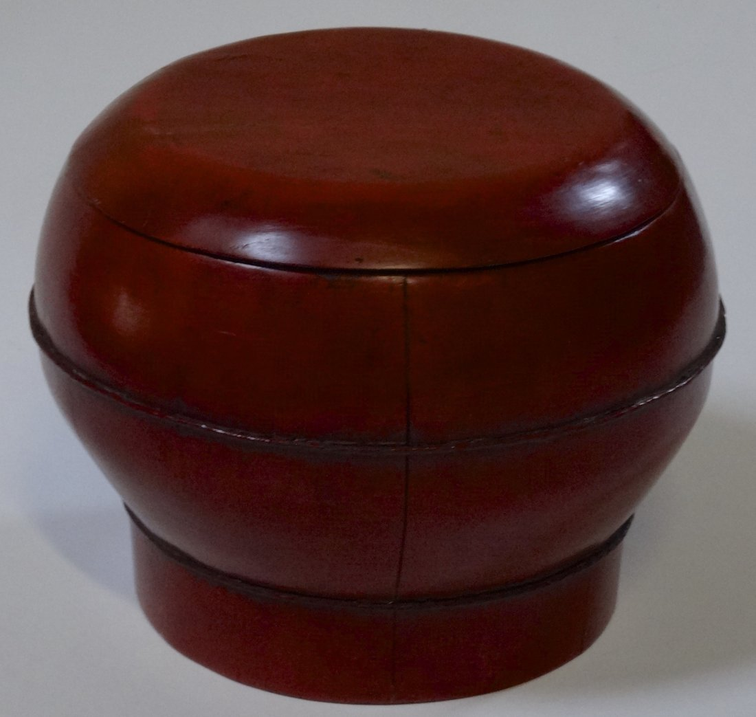 Cinnabar Red Lacquer Painted Oriental Bucket Box Wood