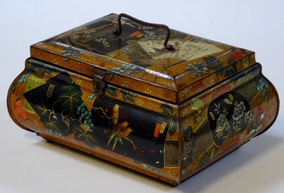 Antique Victorian Chinese Export Tea Tin Litho Large
