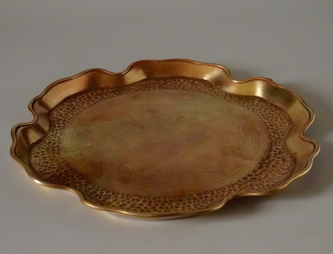 Embossed Chinese Etched Dragon Vintage Brass Tray