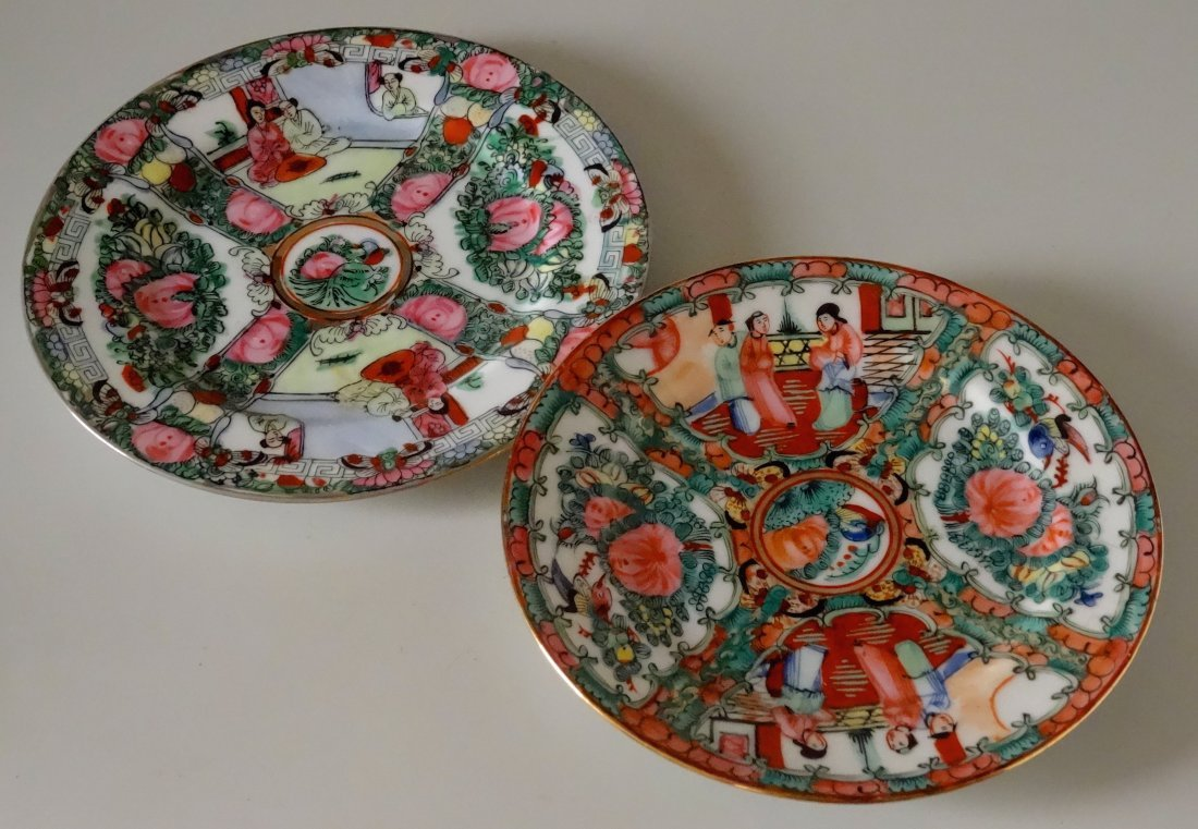 Famille Rose Painted Porcelain Plates Lot of 2