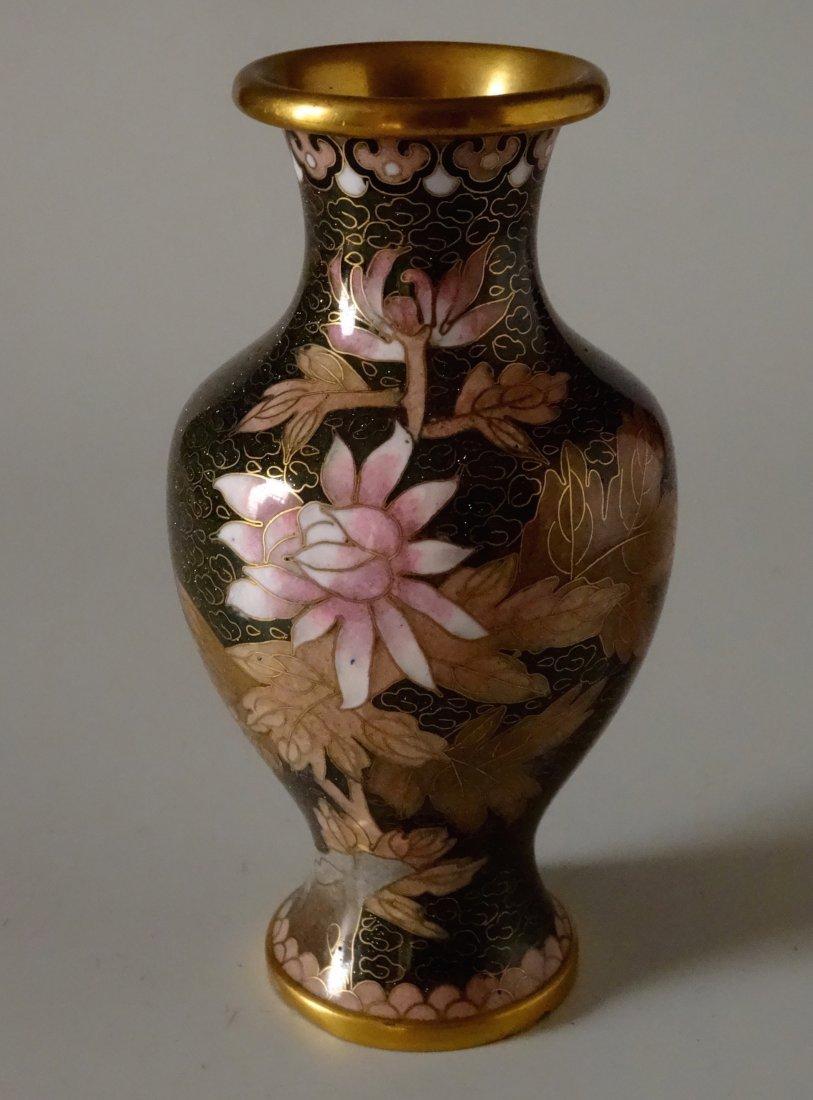 Beautiful Cloisonne Chinese Flower Vase Aventurine
