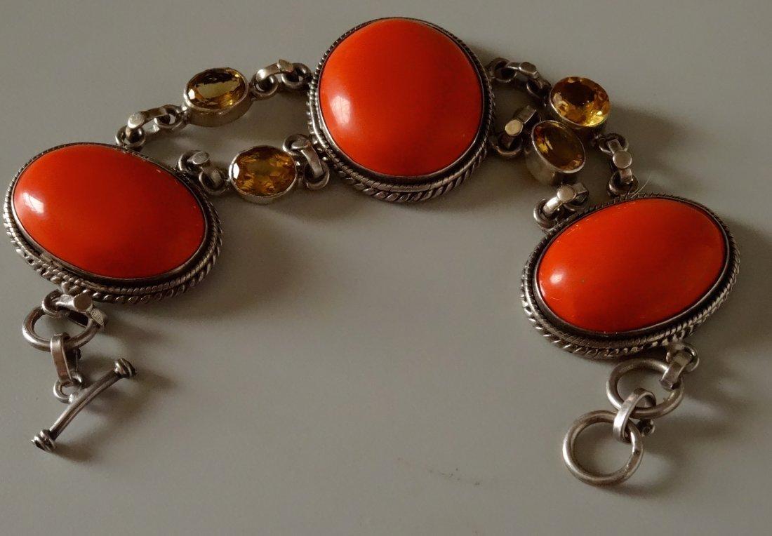 Vintage Art Deco Jewelry Chunky Bracelet Marked 925