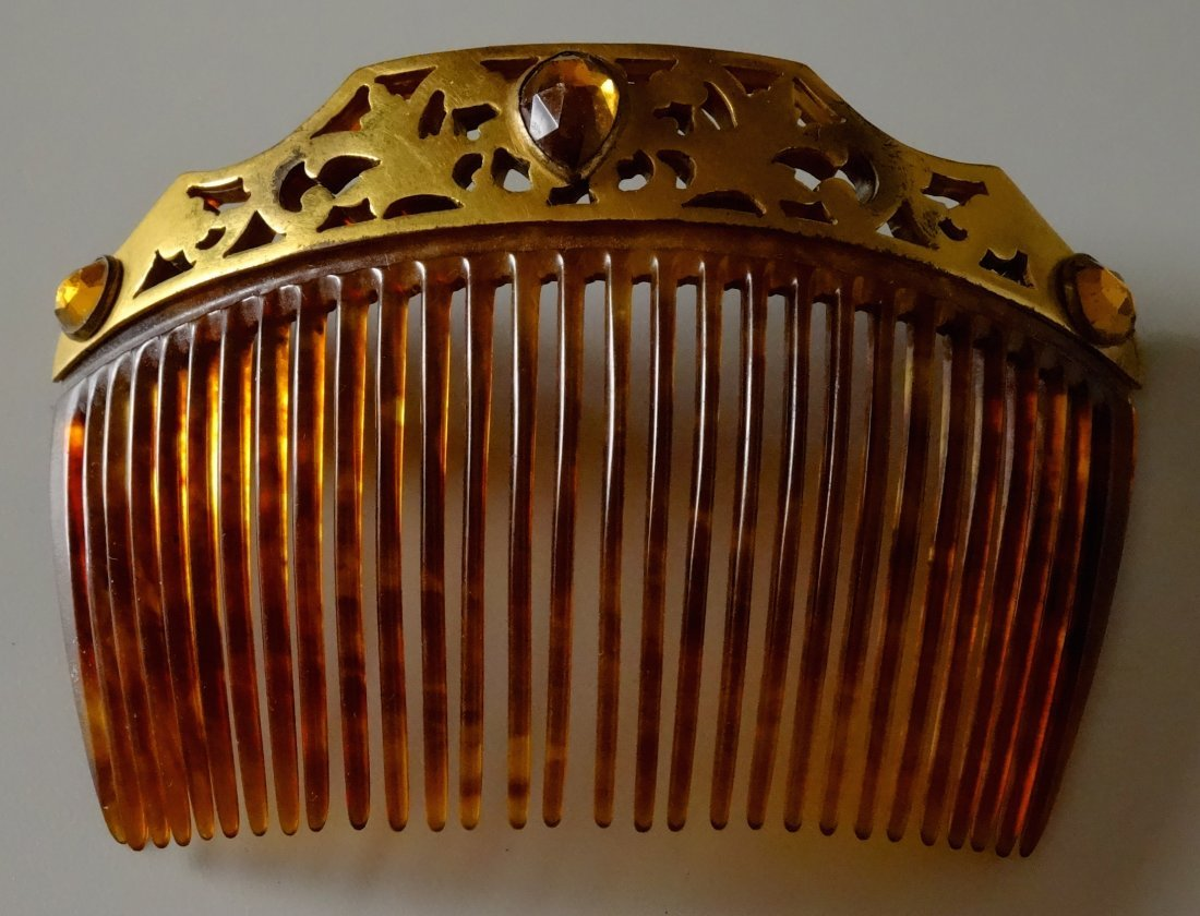 Vintage Jeweled Hair Comb - 9