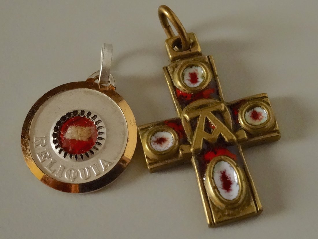 Vintage Rome Cross Pendant and Reliquary Sanctus