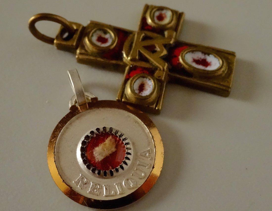 Vintage Rome Cross Pendant and Reliquary Sanctus - 3