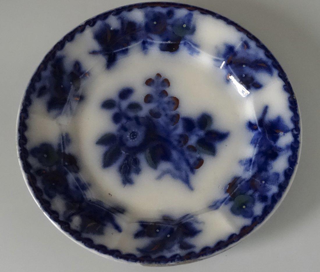 Antique Flow Blue Plate Moss Rose c. 1860