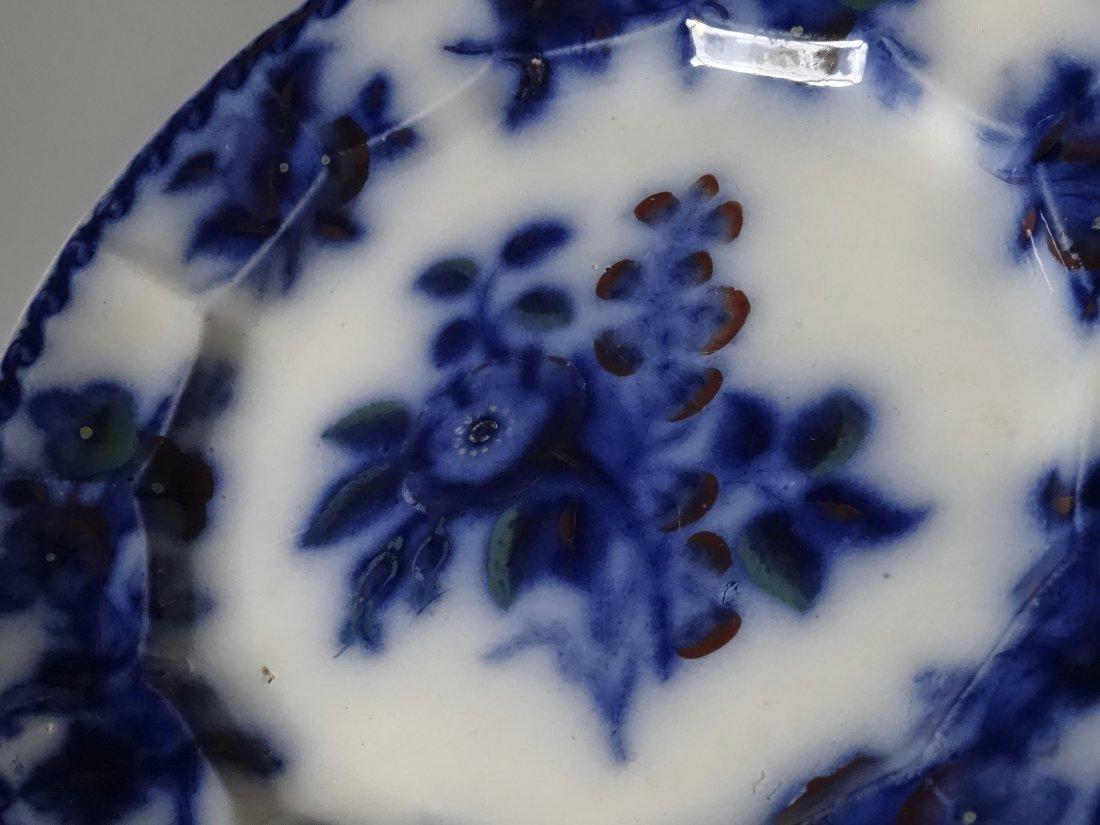 Antique Flow Blue Plate Moss Rose c. 1860 - 2