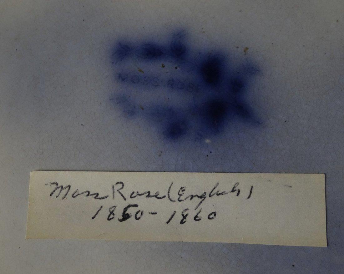Antique Flow Blue Plate Moss Rose c. 1860 - 4