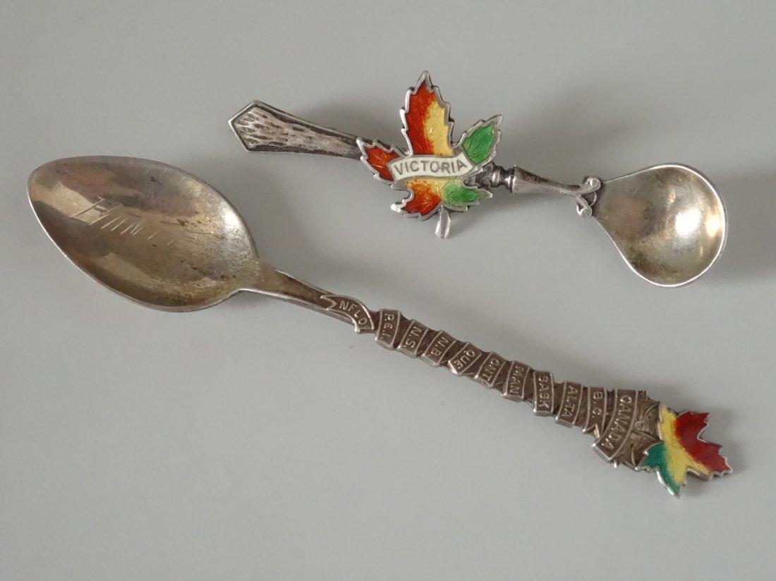Victoria Canada Leaf Enamel Silver Souvenir Spoon Salt