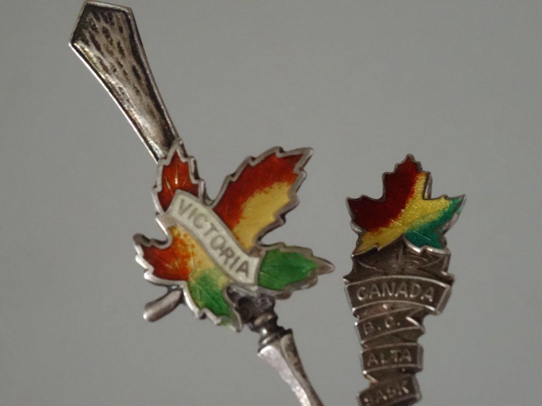 Victoria Canada Leaf Enamel Silver Souvenir Spoon Salt - 4