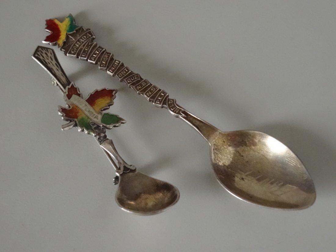 Victoria Canada Leaf Enamel Silver Souvenir Spoon Salt - 5