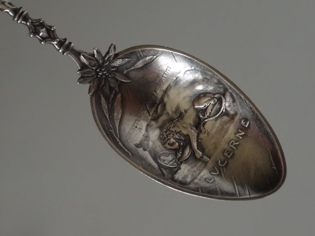 William Tell Lucerne Figural Souvenir 800 Silver Spoon - 3