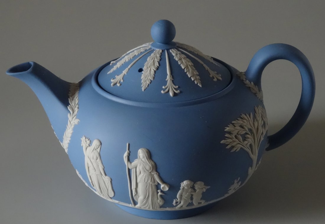 Large Wedgwood Blue Jasper Teapot