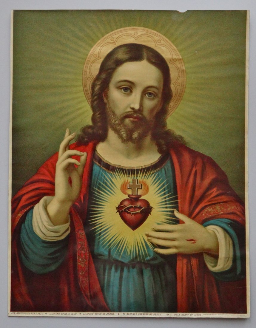Victorian Jesus Religious Lithograph 124 Geneilightus