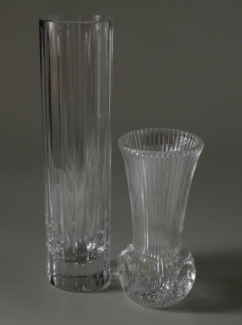 Baccarat Clear Glass Fluted Vase with Additional Vase