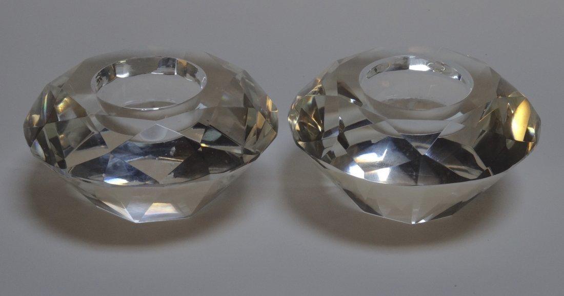 Vintage Art Deco Diamond Crystal Candleholders Pair