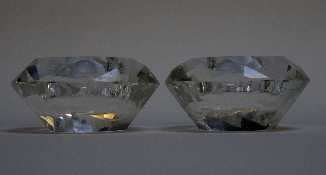 Vintage Art Deco Diamond Crystal Candleholders Pair - 2