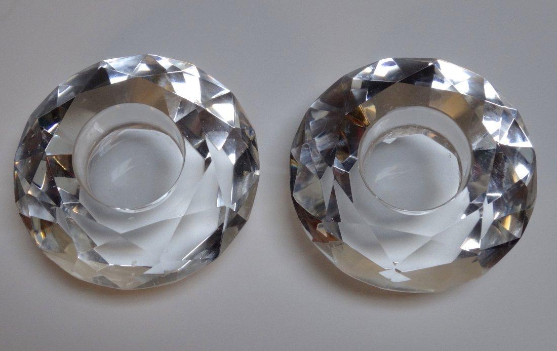 Vintage Art Deco Diamond Crystal Candleholders Pair - 3