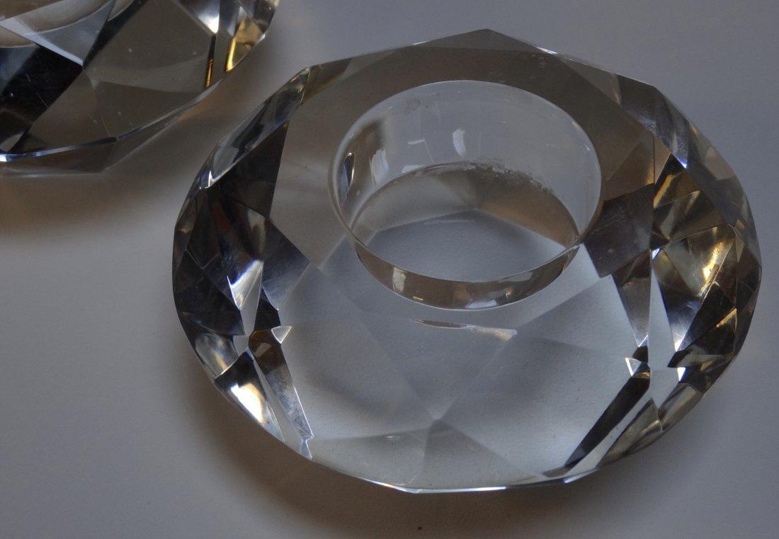 Vintage Art Deco Diamond Crystal Candleholders Pair - 4
