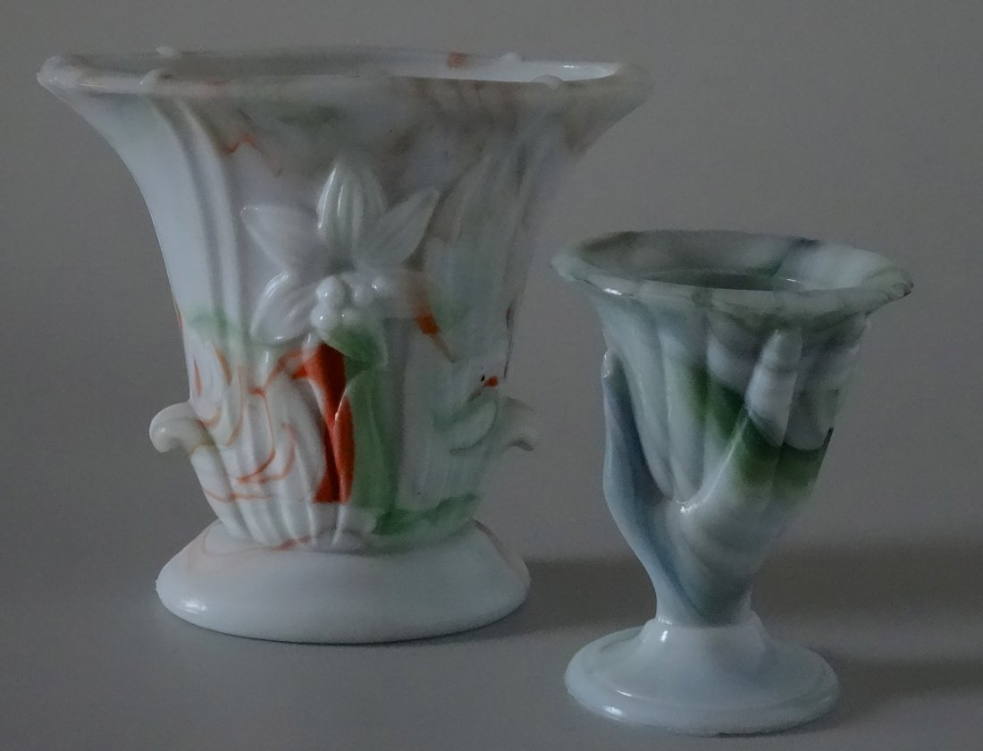 Antique Victorian Hand Fan Slag Glass Vase Lot of 2