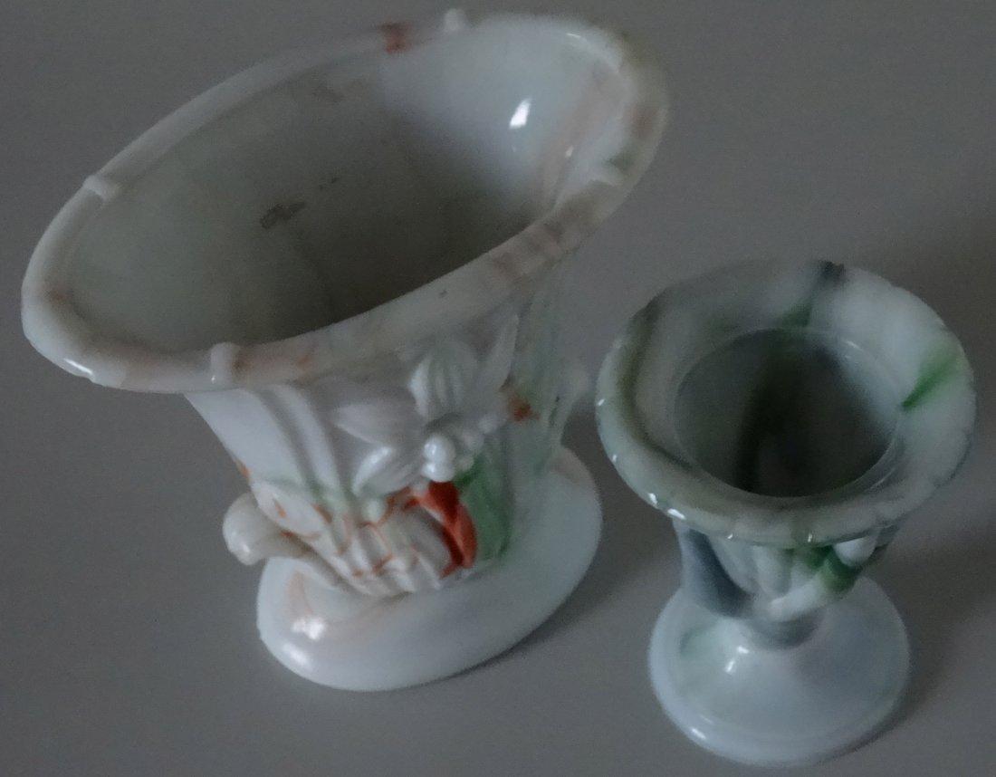 Antique Victorian Hand Fan Slag Glass Vase Lot of 2 - 2