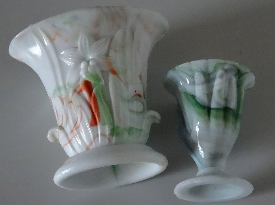 Antique Victorian Hand Fan Slag Glass Vase Lot of 2 - 4