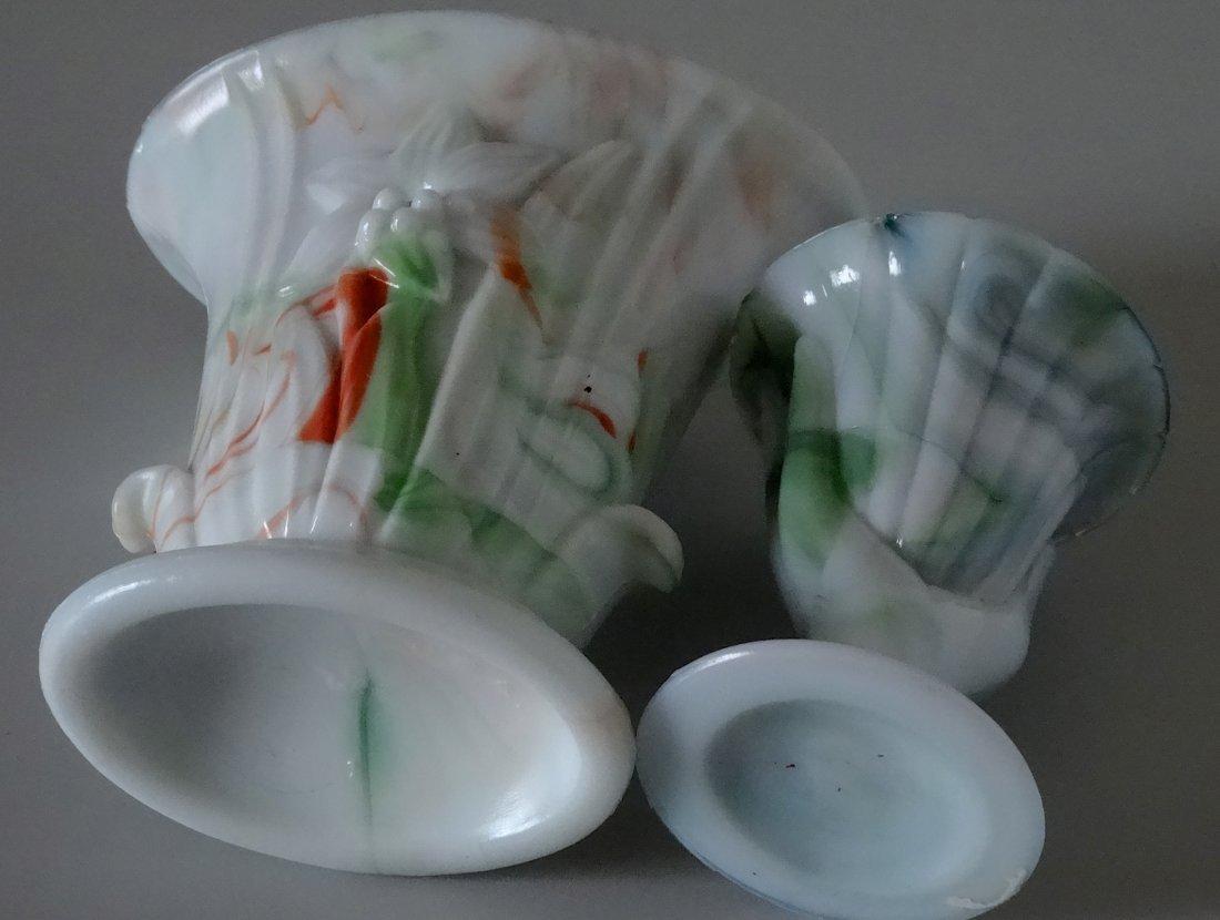 Antique Victorian Hand Fan Slag Glass Vase Lot of 2 - 6