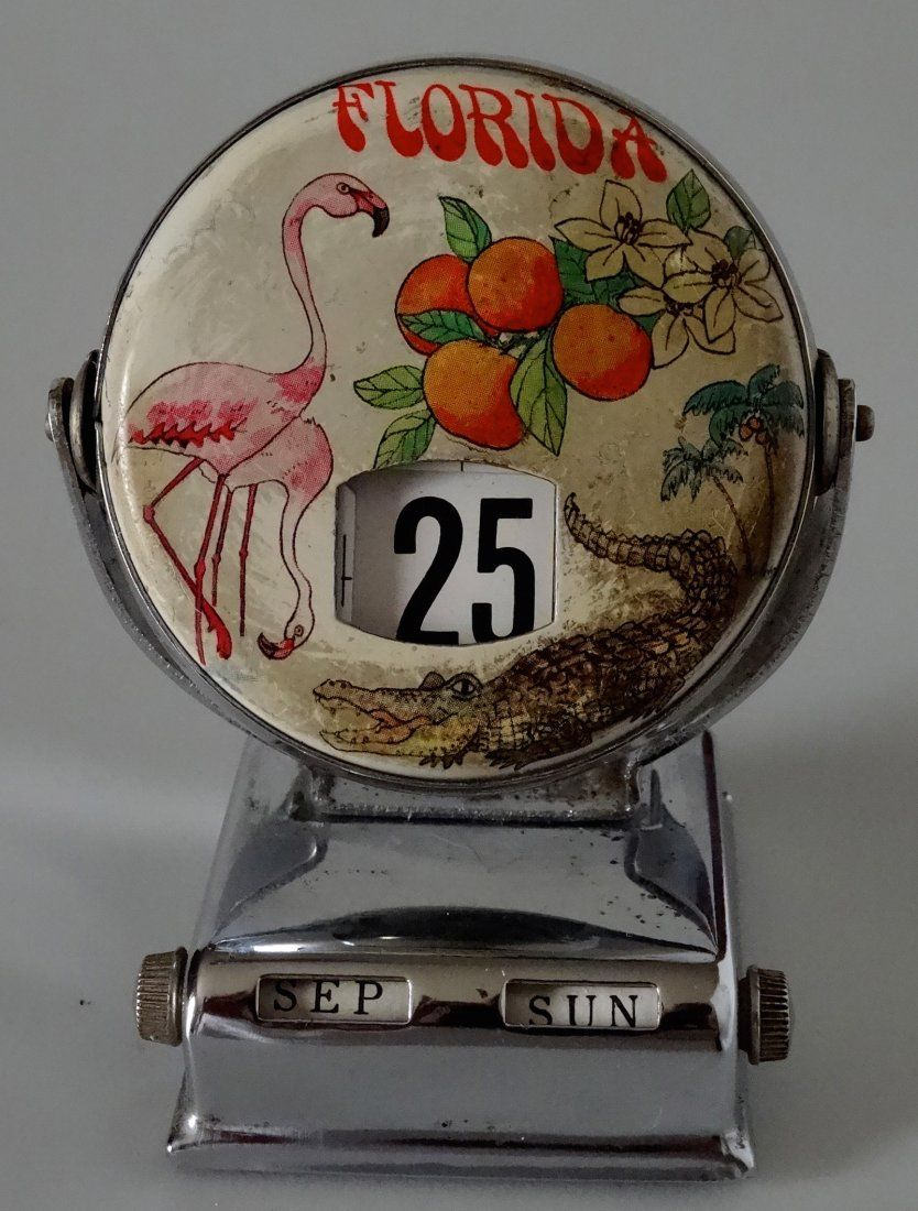 Antique Florida Flamingo Desk Top Perpetual Calendar