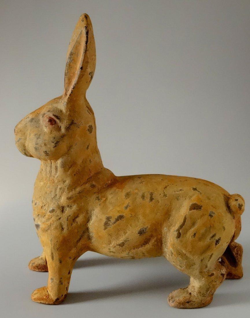 Cast Iron Rabbit Hare Painted Figurine Garden Decor - 2