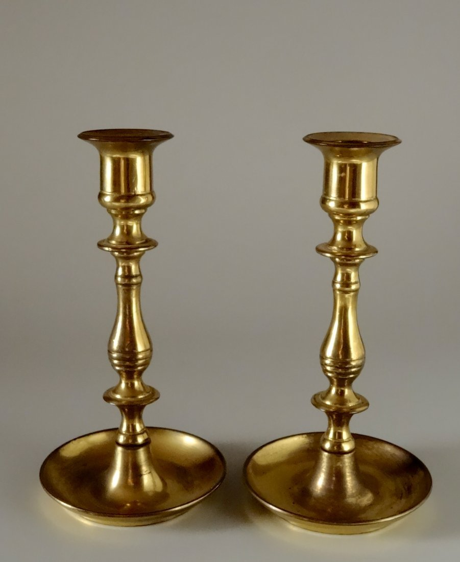 Quality English Brass Candlesticks Candle Holders Pair