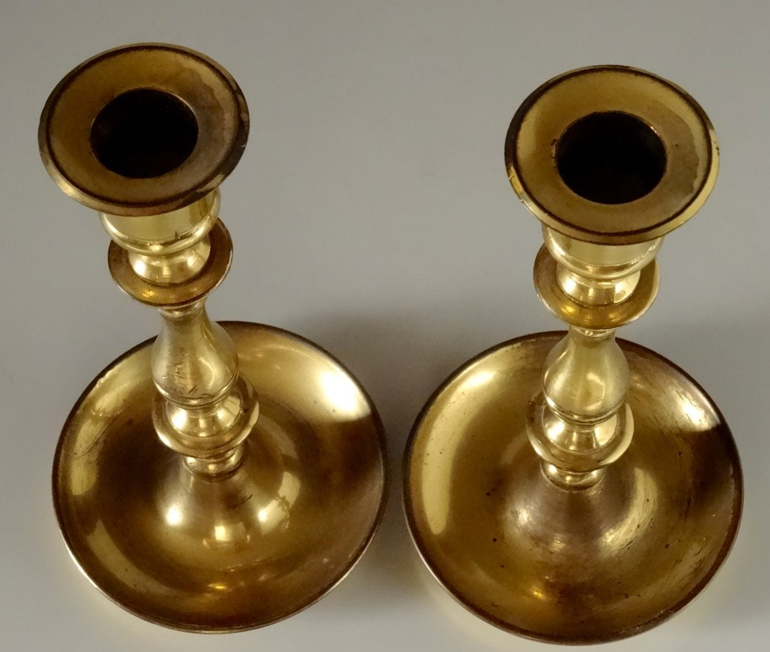 Quality English Brass Candlesticks Candle Holders Pair - 3