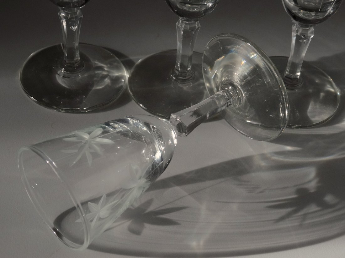 Art Deco Period Vintage Star Cut Glass Cordials Footed - 3