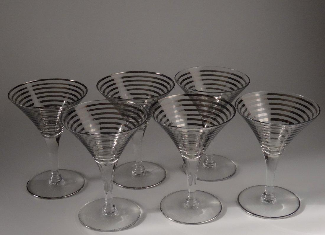 Vintage Art Deco Martini Silver Ring Trim Retro Cocktai