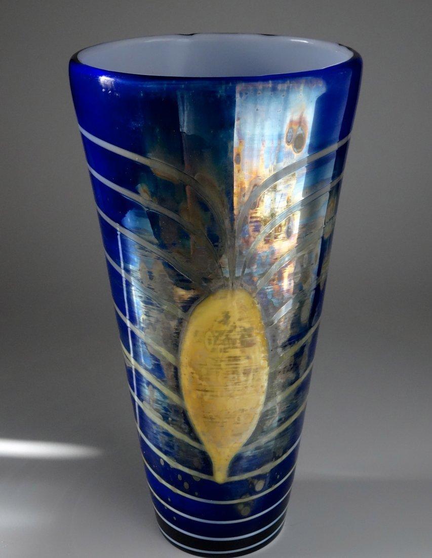 Bohemian Egermann Cased Pulled Glass Vase Art Deco Styl