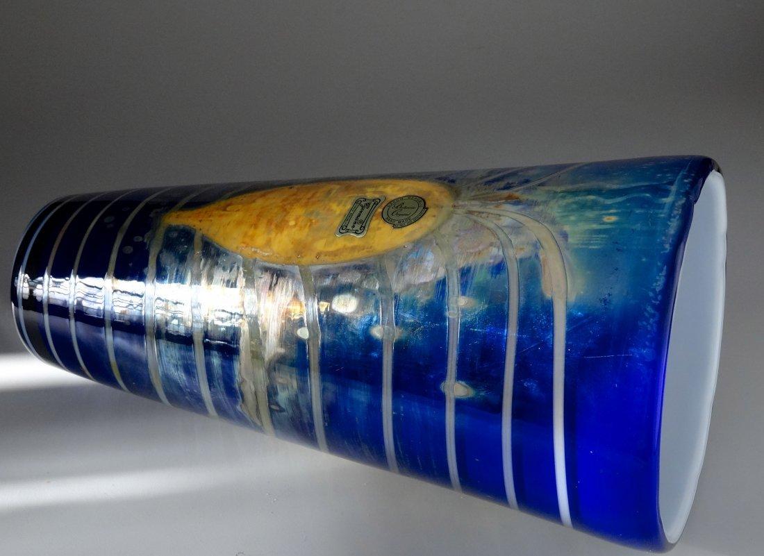 Bohemian Egermann Cased Pulled Glass Vase Art Deco Styl - 3