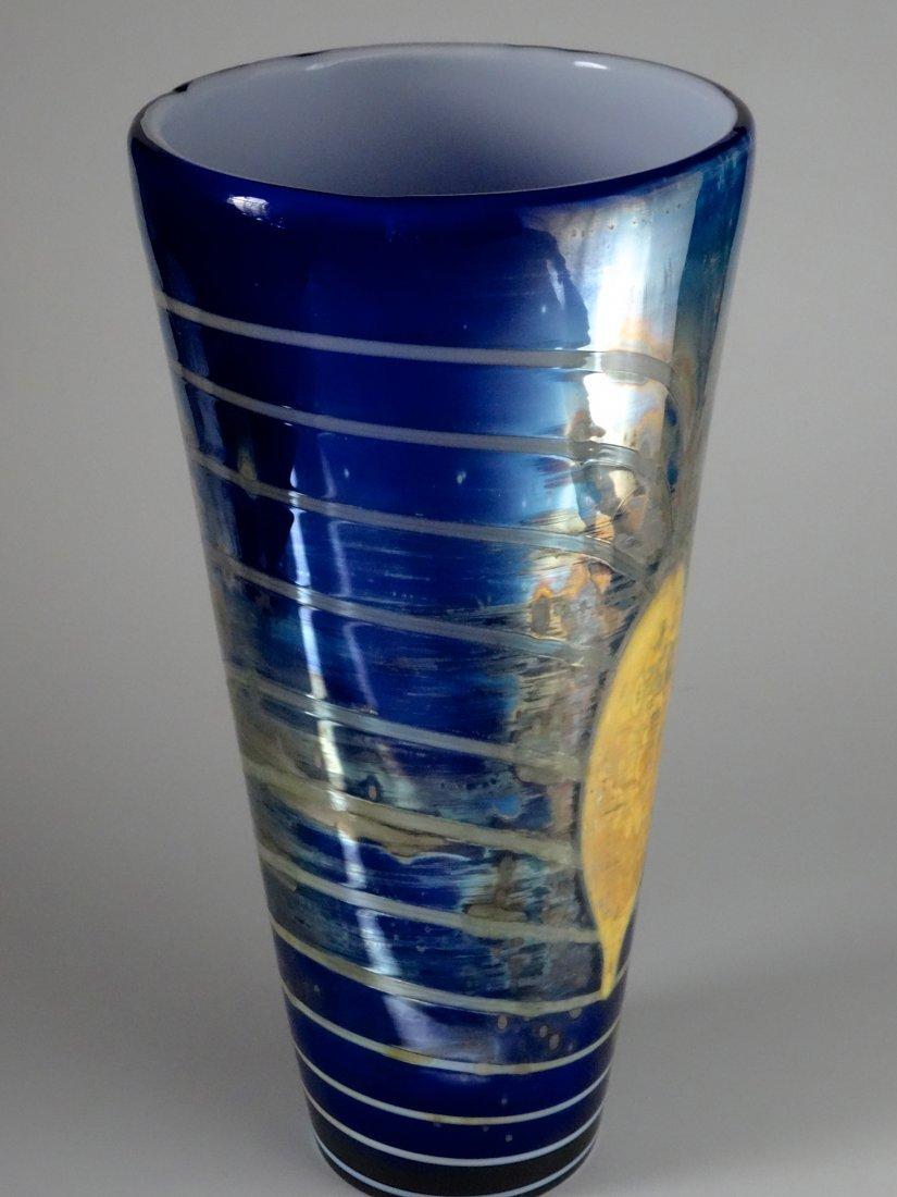 Bohemian Egermann Cased Pulled Glass Vase Art Deco Styl - 7
