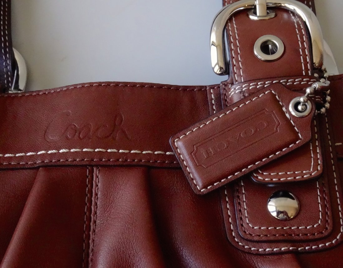 Authentic COACH Brown Leather Bag Purse Never Used - 2