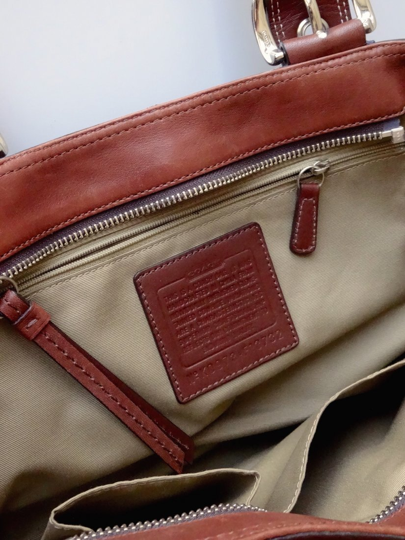 Authentic COACH Brown Leather Bag Purse Never Used - 3