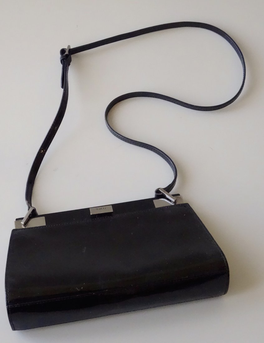 GUCCI Clutch Shoulder Bag Black Lacquer Made in Italy