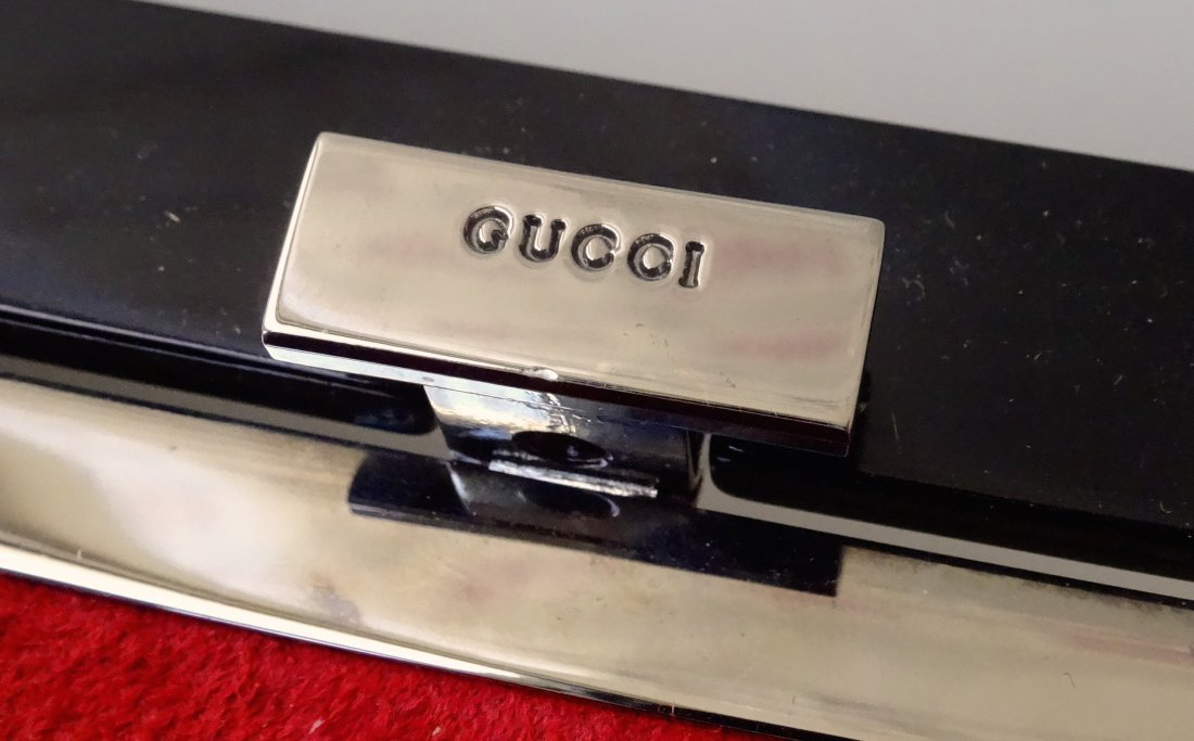 GUCCI Clutch Shoulder Bag Black Lacquer Made in Italy - 3