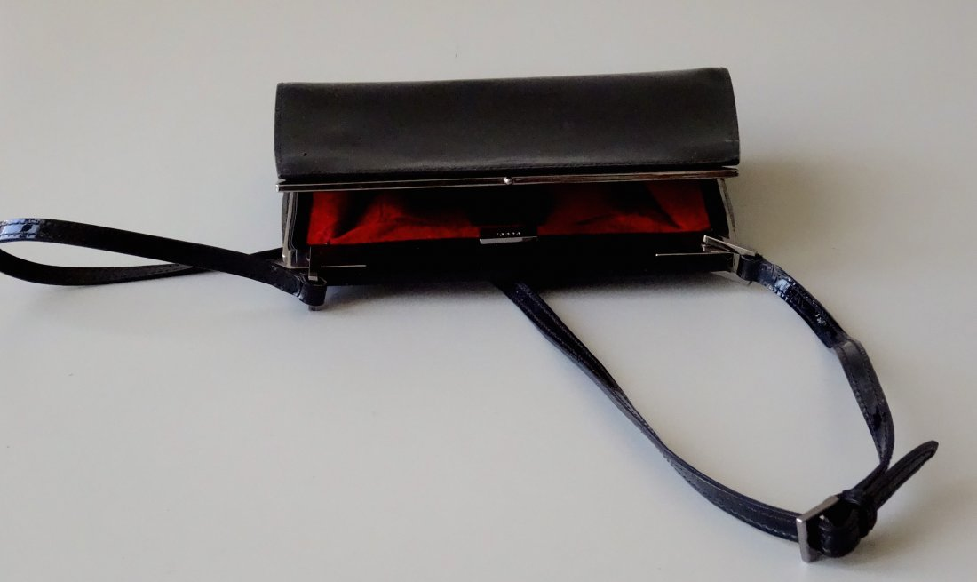 GUCCI Clutch Shoulder Bag Black Lacquer Made in Italy - 4