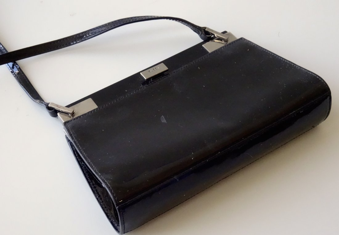 GUCCI Clutch Shoulder Bag Black Lacquer Made in Italy - 8
