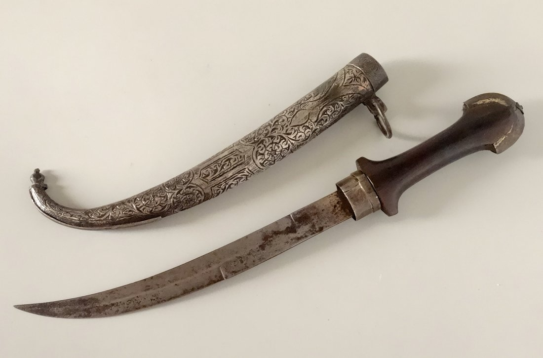Antique Islamic Curved Blade Dagger Moroccan Koummya