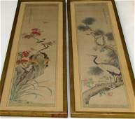 Chinese Scroll Calligraphy Signed Birds Painting Pair