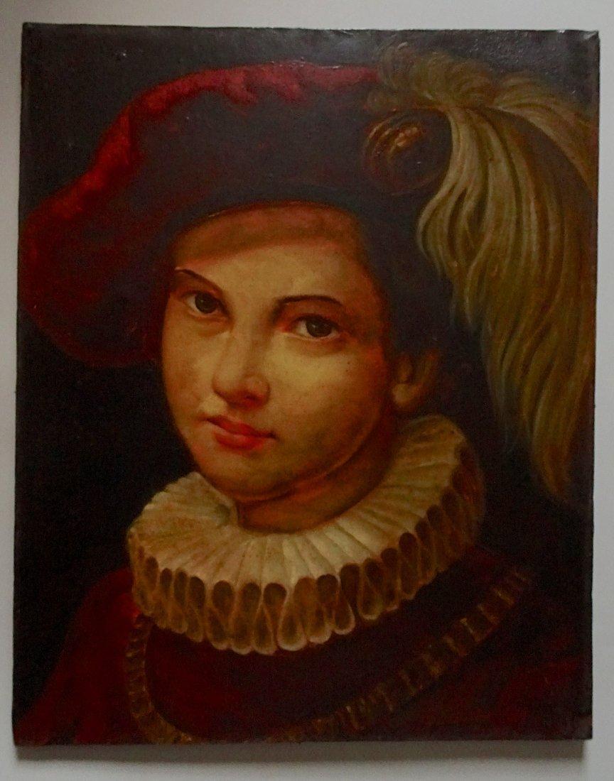 Plumed Hat Renaissance Page Portrait Painting on Canvas