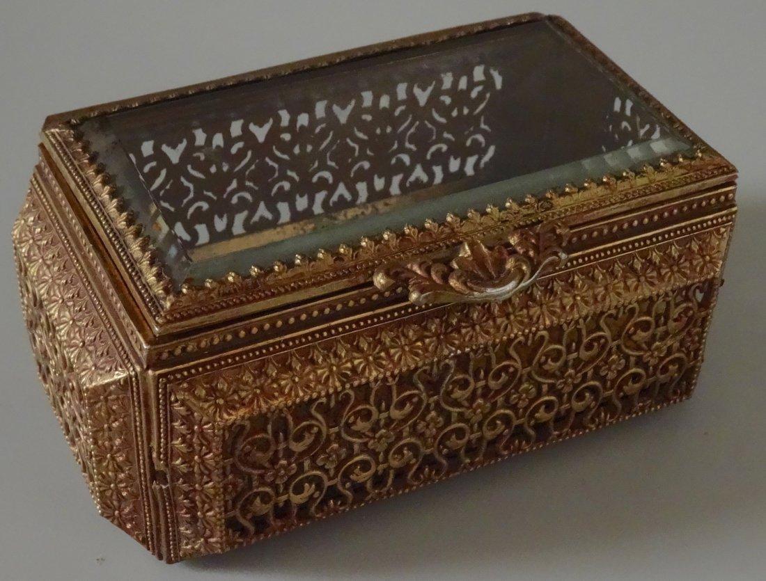 Vintage Jewelry Casket Ornate Metal Beveled Glass Lid